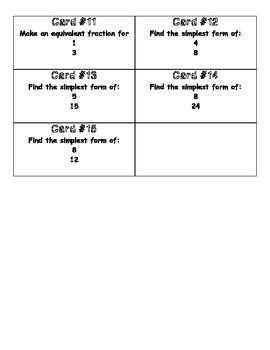 Equivalent Fractions Scoot Game Cards