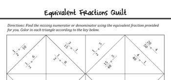 Equivalent Fractions Self-Checking Quilt Activity