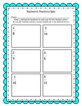 Equivalent Fractions Simple Quiz