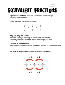 Equivalent Fractions / Simplifying Fractions / GCD