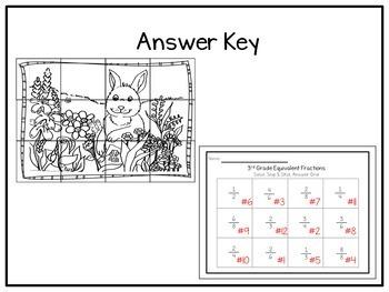 Equivalent Fractions: Solve Snip & Stick Activity: TEKS 3.3F