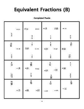 Equivalent Fractions Square Puzzles