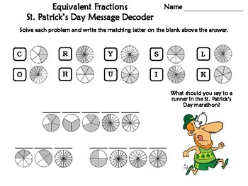 Equivalent Fractions St. Patrick's Day Math Activity: Message Decoder