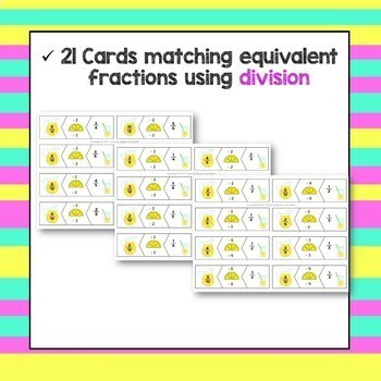 Equivalent Fractions Summer Lemonade Matching Cards End of the Year Game