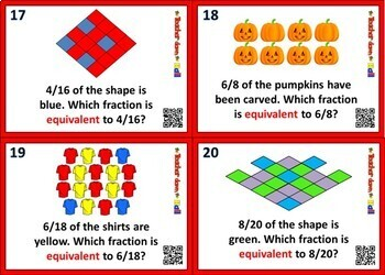 Equivalent Fractions Task Cards - 24 Cards w/ QR Codes!