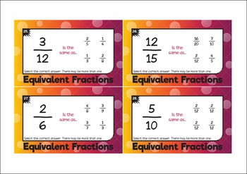 Equivalent Fractions - Task Cards