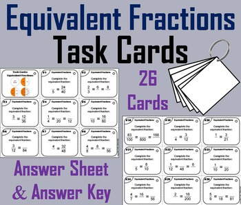 Equivalent Fractions Task Cards/ Equivalent Fractions Prac
