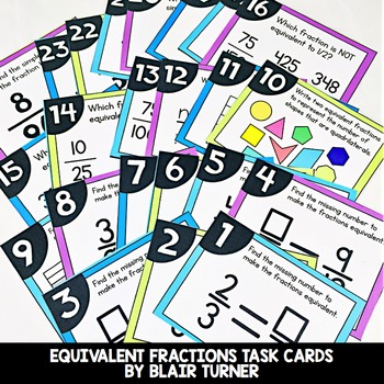 Equivalent Fractions Task Cards: 4th Grade Math Centers 4.NF.1