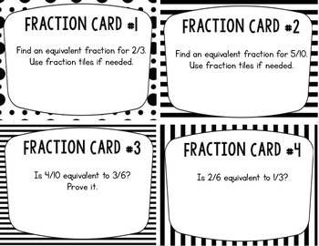 Equivalent Fractions Task Cards: Set of 24 for Grades 3-4