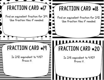 Equivalent Fractions Task Cards: Set of 24 for Grades 3-4