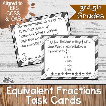 Equivalent Fractions Task Cards | TEKS 3.2d | TEKS 4.3c | TEKS 5.2a