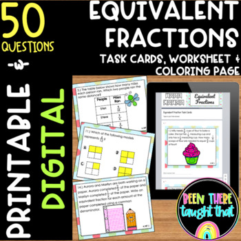 Equivalent Fractions Task Cards and Coloring Page 4.NF.1
