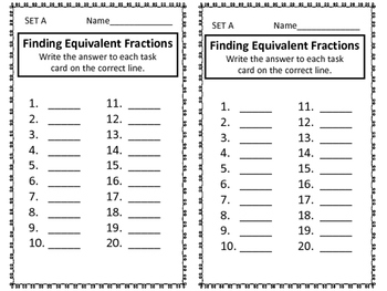Equivalent Fractions--Task Cards and More