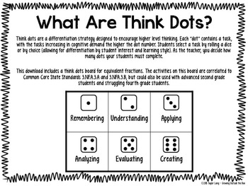 Equivalent Fractions - Think Dots - Differentiated Critical Thinking Activities
