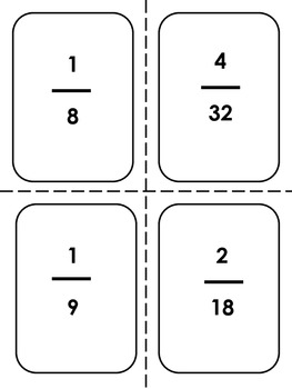 Equivalent Fractions Three-Eyed Monster/Old Maid Game