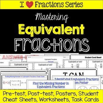 Equivalent Fractions Unit -Pretest, Post-test, Poster, Cheat Sheet, Worksheets
