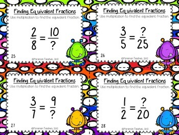 Equivalent Fractions - Using Multiplication - Task Cards