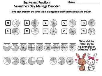 Equivalent Fractions Valentine's Day Math Activity: Message Decoder