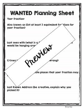 Equivalent Fractions Wanted Poster for Assessment, Centers, Bulletin Board