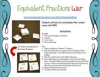 Equivalent Fractions War