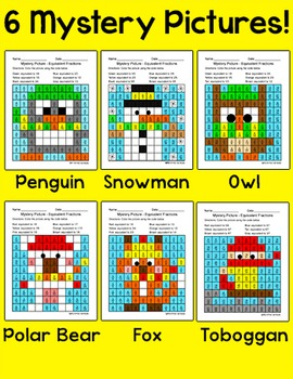 Winter Math Activities: Equivalent Fractions Mystery Pictures Bundle