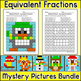 Winter Math Activities: Equivalent Fractions Mystery Pictu