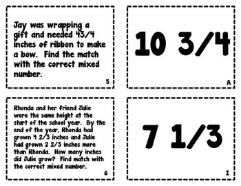 Equivalent Fractions Word Problem Match Ups