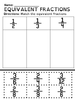 Equivalent Fractions Cut & Paste Worksheet by The Holistic Teacher