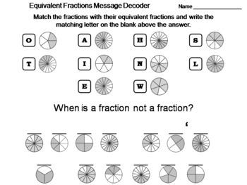 Equivalent Fractions Worksheet: Math Message Decoder