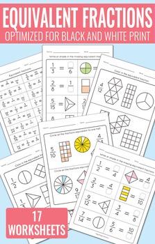 Equivalent Fractions Worksheets - Fractions Unit