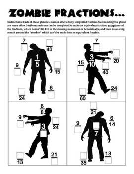 Equivalent Fractions: Zombies, zombies, ZoMbIEs (Halloween)!?