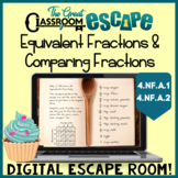 Equivalent Fractions & Comparing Fractions 4th Grade Math Escape Room Activity