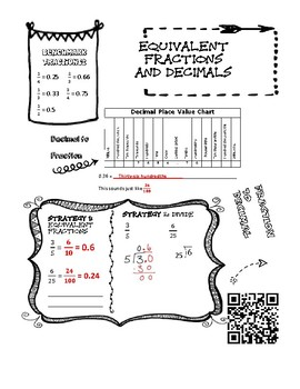 Equivalent Fractions and Decimal Doodle Notes