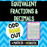 Equivalent Fractions and Decimals - Odd Man Out
