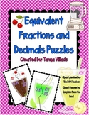 Equivalent Fractions and Decimals Puzzles - PERFECT FOR MA