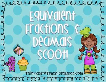 Equivalent Fractions and Decimals Scoot!