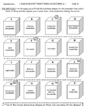 Equivalent Fractions and Decimals Twist PLUS Equivalent Fractions Balloons