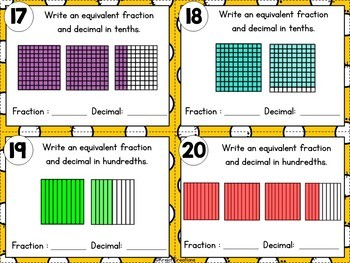 Equivalent Fractions and Decimals with Tenths and Hundredths Bundle