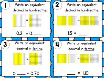 Equivalent Fractions and Decimals with Tenths and Hundredths-TASK CARD BUNDLE