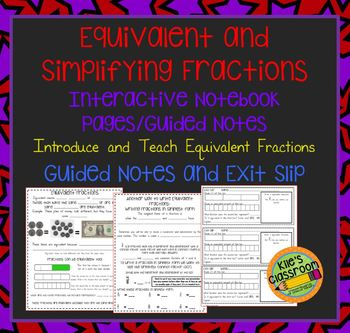 Equivalent Fractions and Fractions in Simplest Form Interactive Notebook