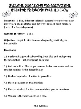 Equivalent Fractions and Improper Fractions 4 In a Row Game