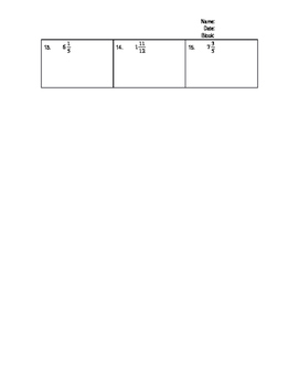 Equivalent Fractions and Mixed Numbers Homework