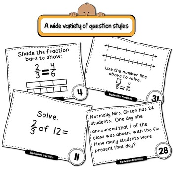 Equivalent Fractions and Parts of a Group Task Cards - QR Code Version