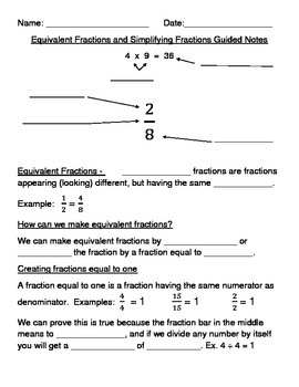 Equivalent Fractions and Simplifying Fractions Guided Notes