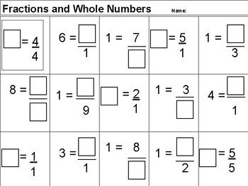 Equivalent Fractions and Whole Numbers