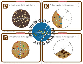 Equivalent Fractions of a Whole Cookie Task Cards