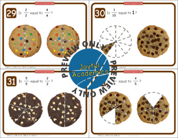 Equivalent Fractions of a Cookie Task Cards