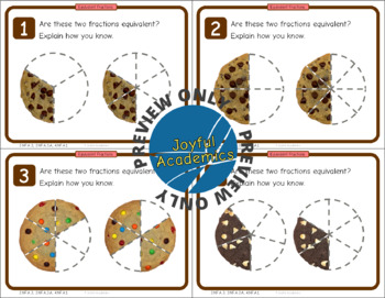 Equivalent Fractions Task Cards - Equivalent Fractions of a Cookie