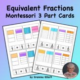 Equivalent Fractions on Montessori 3 Part Cards for Home a