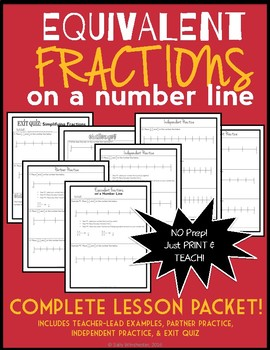 Equivalent Fractions on a Number Line: Complete 7-Page Lesson Packet